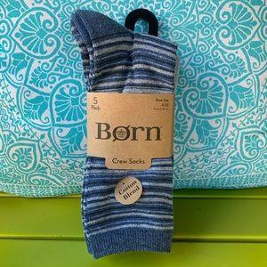 Born crew socks 5 pack sz 4 - 10 new blue